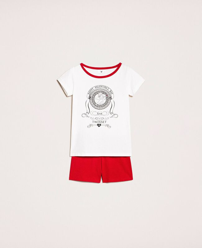 """Printed short pyjamas Two-tone Ivory / """"Pomegranate"""" Red Woman 201LL23EE-0S"""