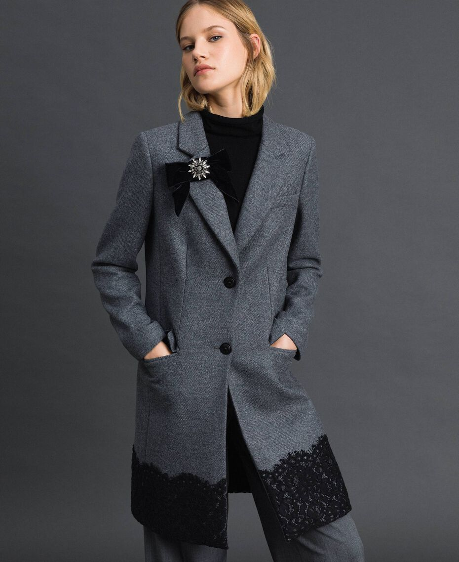 Wool cloth coat with lace Medium Gray Mélange Woman 192TP2314-01