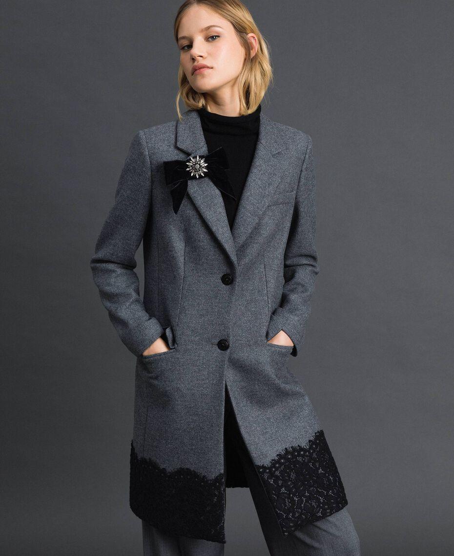 Manteau en drap avec dentelle Gris moyen chiné Femme 192TP2314-01