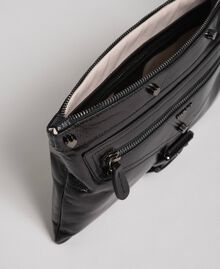 Crackled effect leather clutch bag Black Woman 192TA723B-04