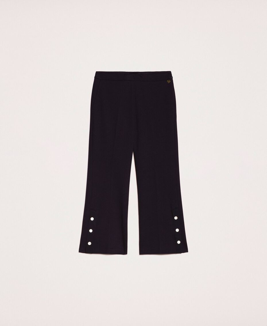 Trousers with frill and pearls Ivory Woman 201TP2103-0S