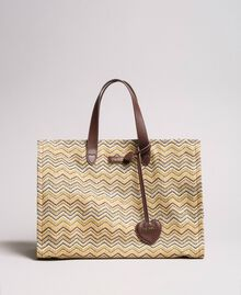 """Oversized straw-effect shopping bag Multicolour """"Milkyway"""" Beige / """"Petra Sandstone"""" Brown / Ivory Woman 191LM4ZCC-03"""