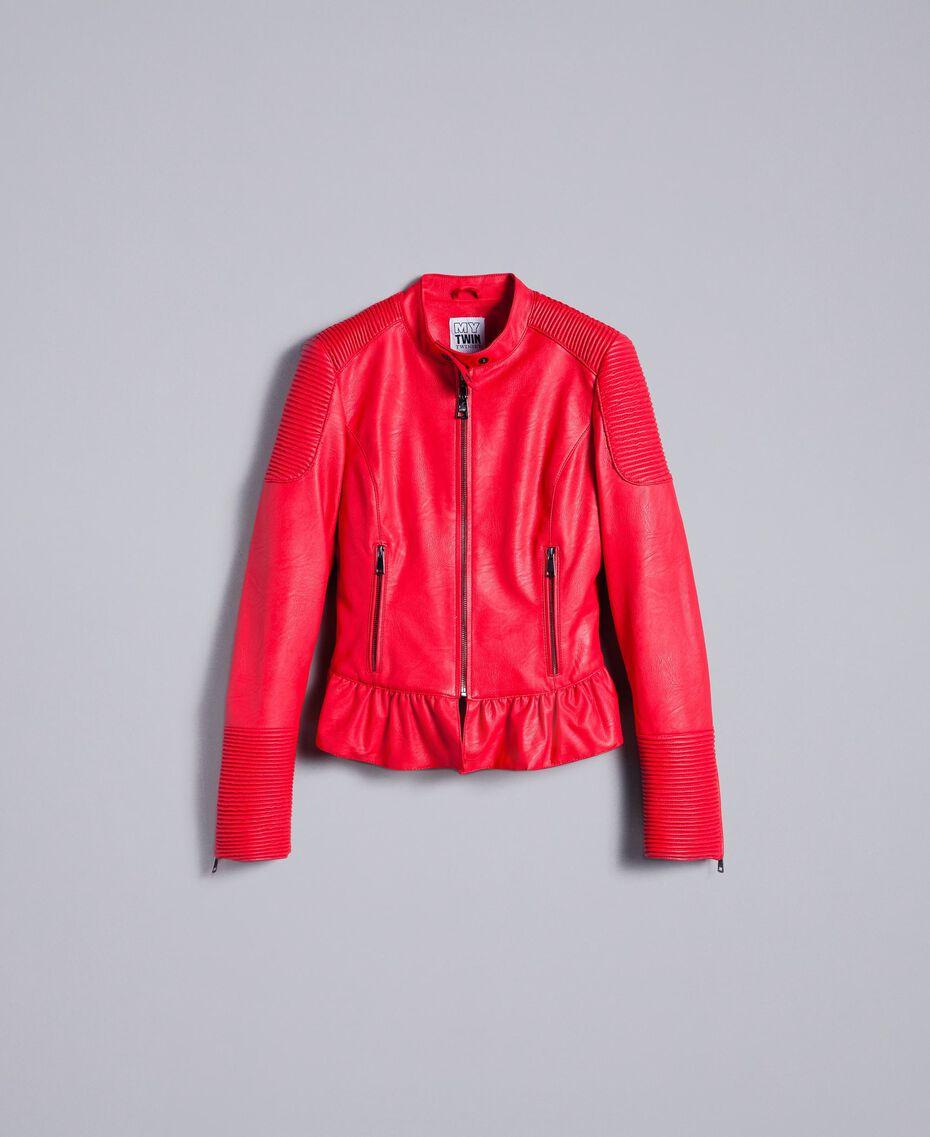 Faux leather biker jacket Poppy Red Woman JA82DG-0S