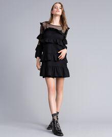 Kleid aus Netzstoff mit Volants Schwarz / Schwarz Frau JA82HP-02