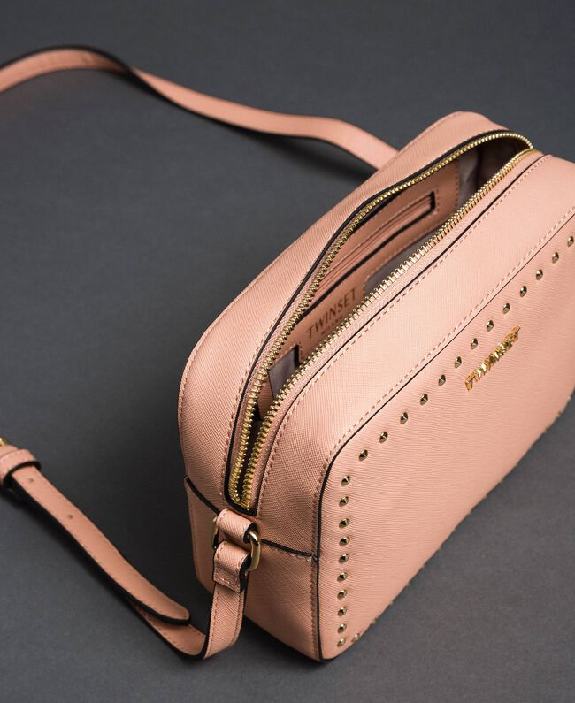 Borsa a tracolla piccola in similpelle con borchie Pink Mousse Donna 192TA7212-04