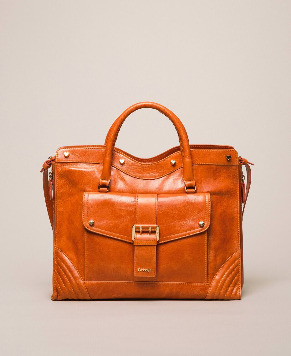 "Rebel leather shopper with pocket ""Jasper"" Red Woman 999TA7235-02"
