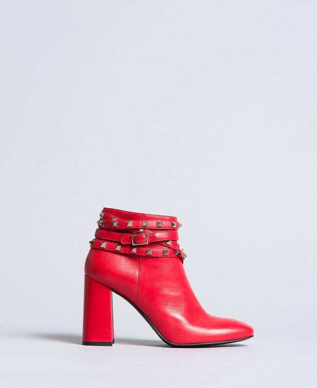 Faux leather ankle boots with studs Poppy Red Woman DA8PEJ-04