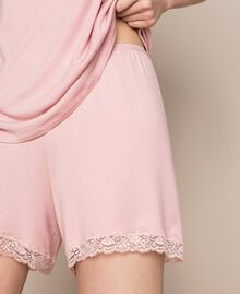 """Short ribbed pyjamas with lace """"Peachskin"""" Pink Woman 201LL25EE-05"""