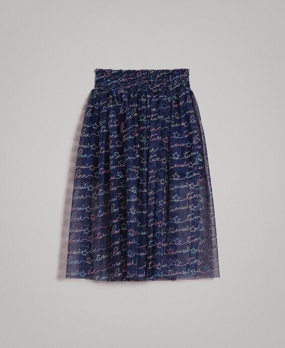 Tulle embroidered skirt with logo