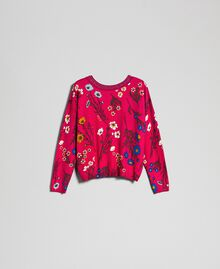 Dual use boxy jumper with rhinestones Amaranth Red Floral Print Woman 192MP3230-0S