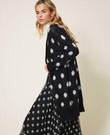 Polka dot jacquard maxi cardigan Two-tone Black / Snow White Jacquard Woman 202TT3222-02