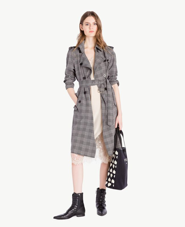 Check trench coat Jacquard Gingham Woman PS827N-05