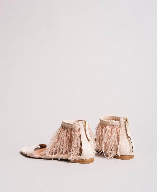 Sandales plates à plumes Rose Bouton Femme 191TCP212-03