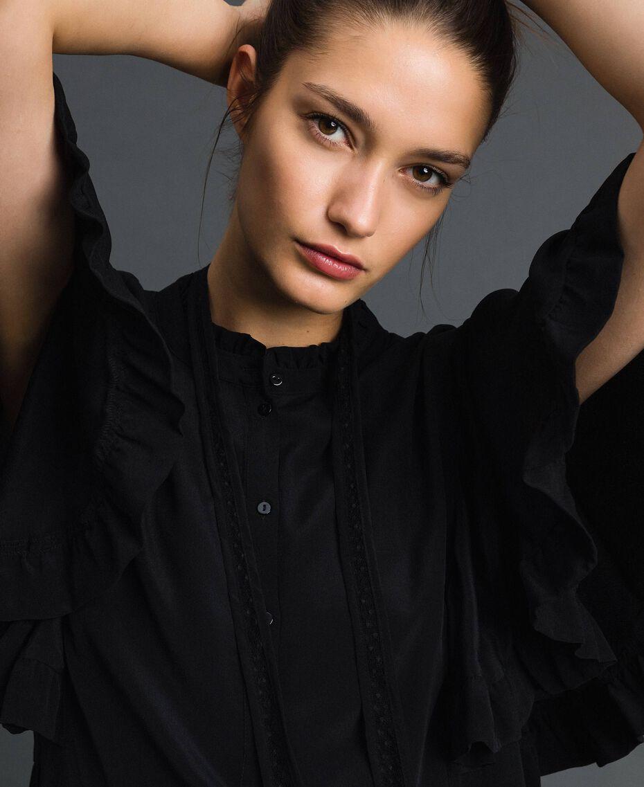 Robe en crêpe de Chine de soie mélangée Noir Femme 192TP2261-05