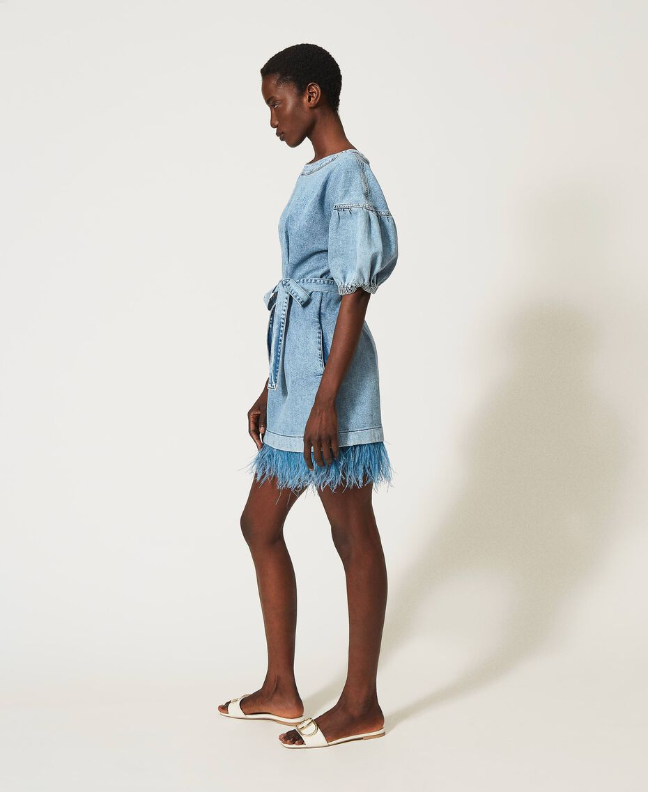 Denim dress with feathers Ocean Denim Woman 211TT2360-02