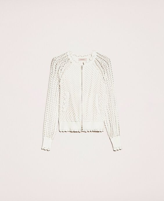 Mesh stitch bomber jacket with crochet details