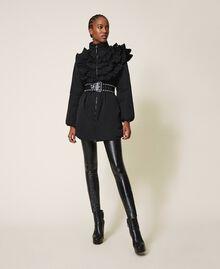 Wattierter Mantel aus Taft mit Rüschen Schwarz Frau 202ST2100-01