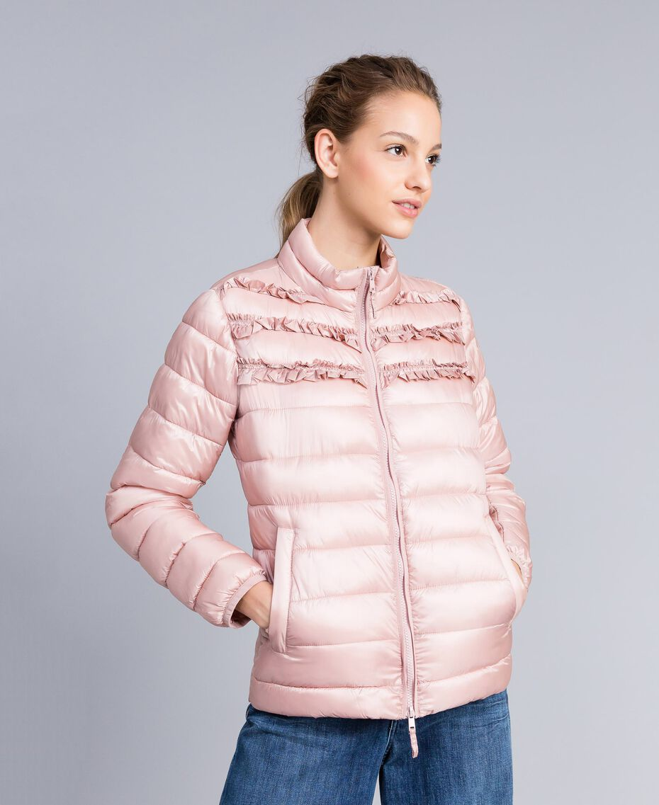 "Short shiny nylon padded jacket with ruches ""Dance"" Pink Woman PA82GS-02"