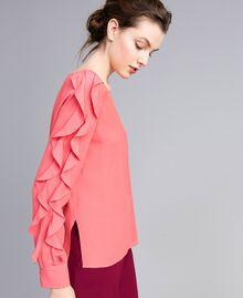 Blouse en soie mélangée avec volant Rose Royal Pink Femme PA828B-01