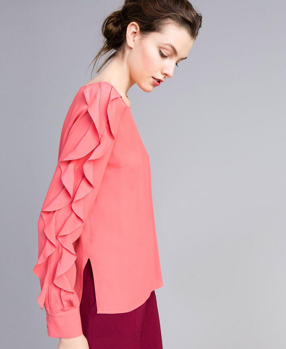Blusa in misto seta con volant Rosa Royal Pink Donna PA828B-01