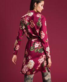 Chemise longue avec imprimé floral Imprimé Rouge Betterave Géranium Femme 192TP2608-03