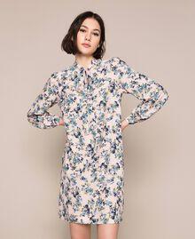 "Floral crêpe de Chine dress ""Quartz"" Pink Flowered Print Woman 201MP2374-02"