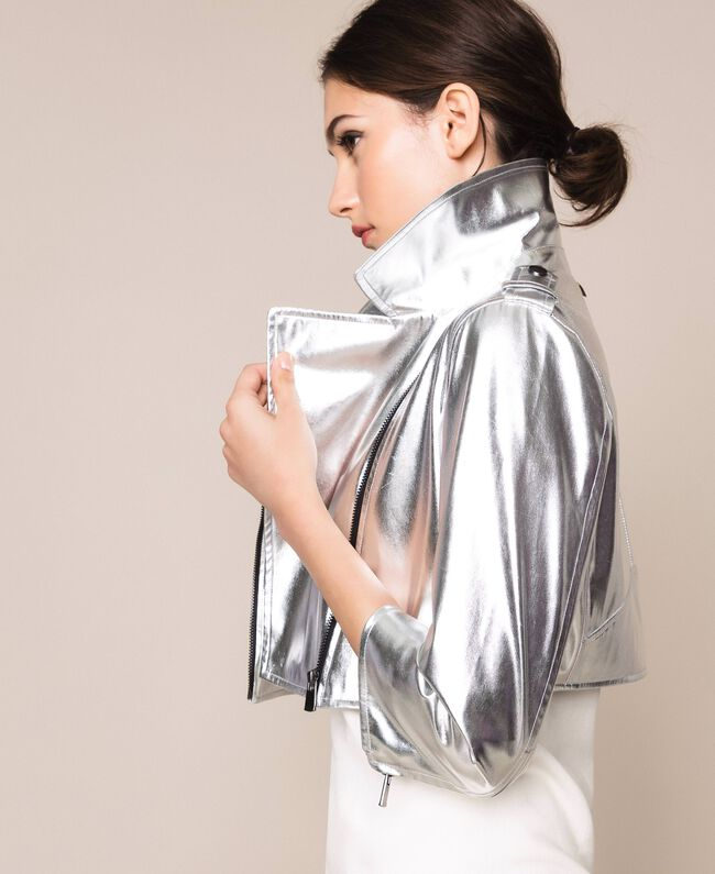 Cropped jacket in metal faux leather Silver Woman 201TP2410-04