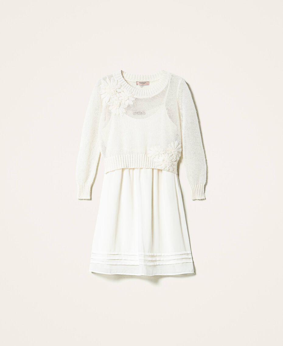 Vestido lencero y jersey de mohair Blanco Nata Mujer 202TP3262-0S