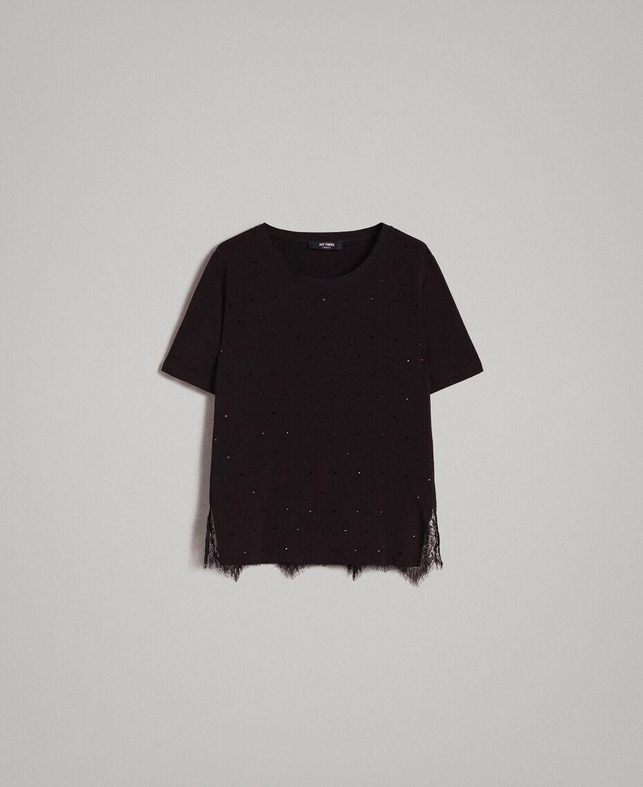Blusa con estrás y encaje Negro Mujer 191MP2451-0S