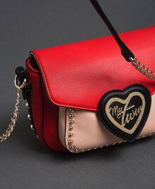 Sac à bandoulière en similicuir bicolore avec clous Rouge Coquelicot / Rose Pâle Femme 192MA7103-04