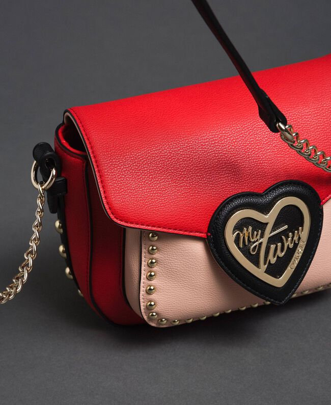 Two-tone faux leather shoulder bag with studs Poppy Red / Pale Pink Woman 192MA7103-04