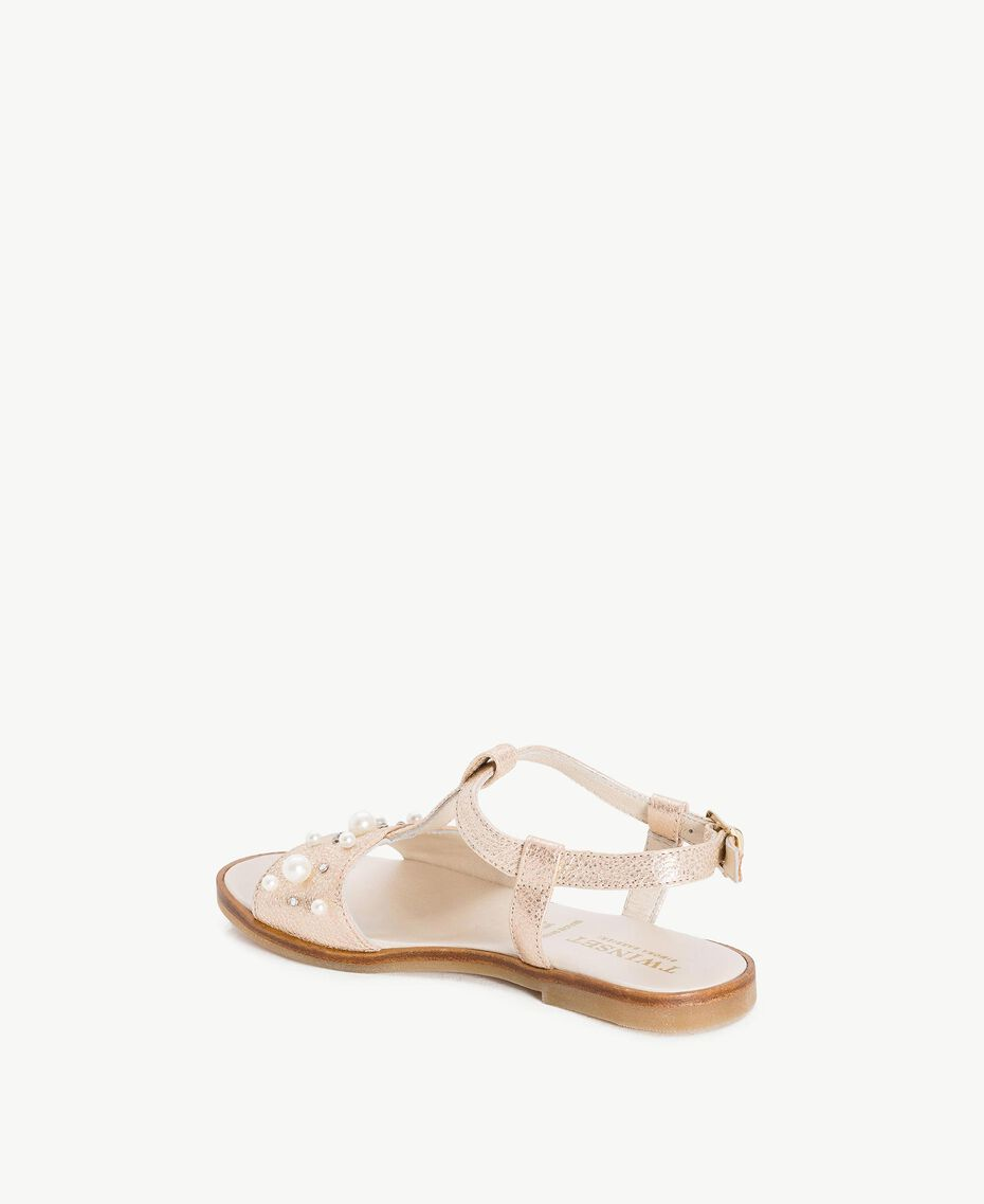 Sandale mit Perlen Platin Kind HS88EQ-03