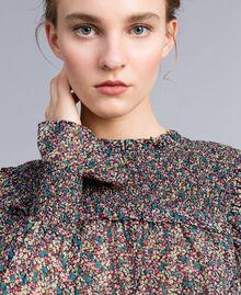 Blusa in georgette a stampa floreale Stampa Microfiore Multicolor Donna PA82MB-04