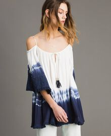 Tie dye blouse with macramé and fringes Two-tone Off White / Blunight Woman 191MT2320-03