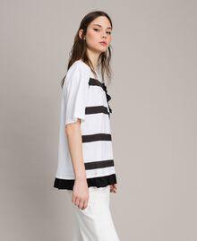 Maxi T-shirt  a righe con fiocco Panna White Donna 191MP206C-02