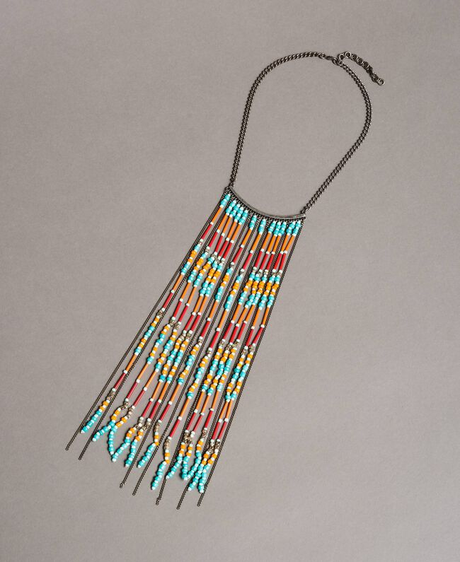 Choker necklace with chain fringes and beads Tile Blue Woman 191TO534B-01