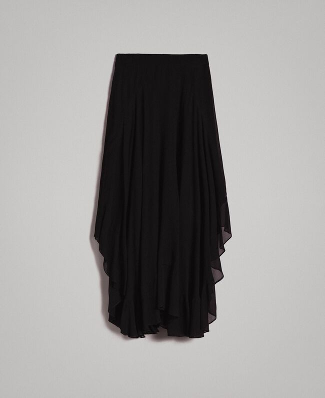 Georgette mid-length skirt Black Woman 191TP2125-0S