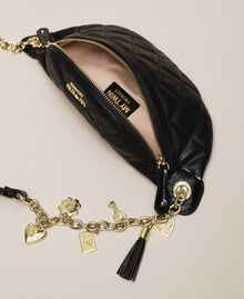 Quilted faux leather belt bag with charms Black Woman 201MA7045-05