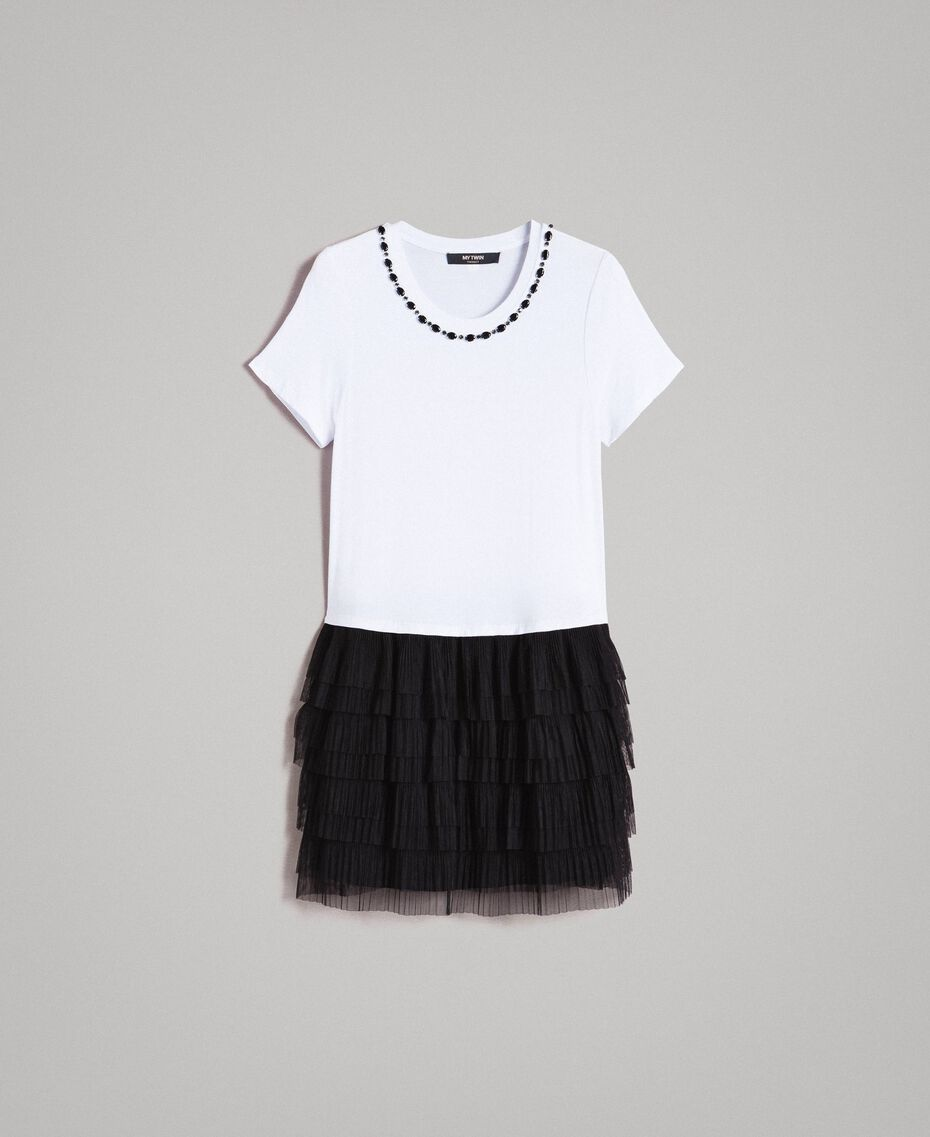 Kleid mit Stickerei und Tüllrock Zweifarbig Weiß / Schwarz Frau 191MP2234-0S