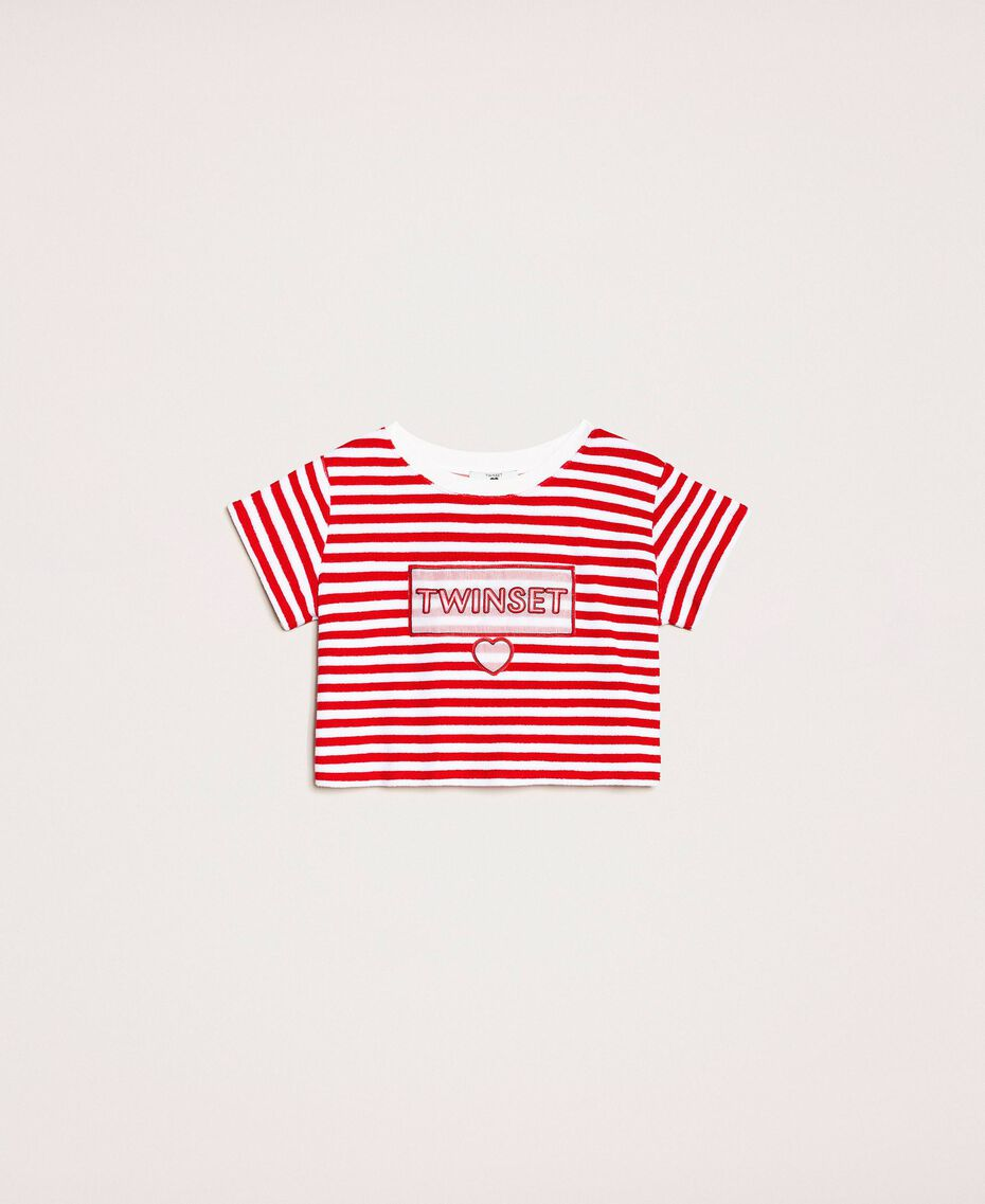 Striped terry cloth T-shirt with logo Two-tone Black / Optical White Woman 201LM2LSS-0S