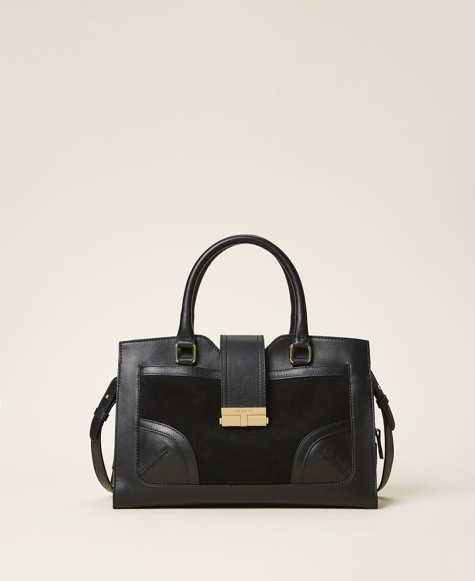 Smooth leather and suede shopper Black Woman 202TB7283-01
