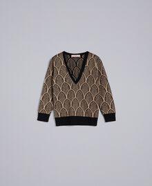 Pullover aus Wollmischung und Lurex in Jacquardverarbeitung Jacquard Schwarz / Goldlurex Frau TA8323-0S