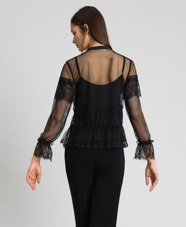 Blouse with tulle, lace and plumetis patch Black Woman 192TP2290-03