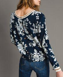 Lurex-Pullover-Cardigan mit Blumenmuster Motiv Blumen Deep Lake Frau 191ST3121-02