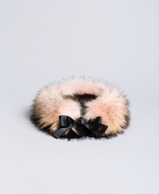 Col en fourrure bicolore Bicolore Rose Clair / Noir Femme AA8P9A-01