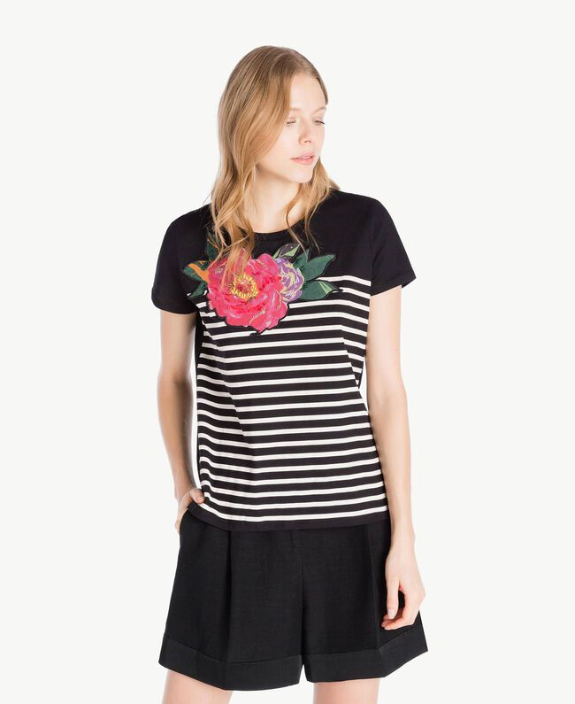 Striped T-shirt Black Woman TS829U-01