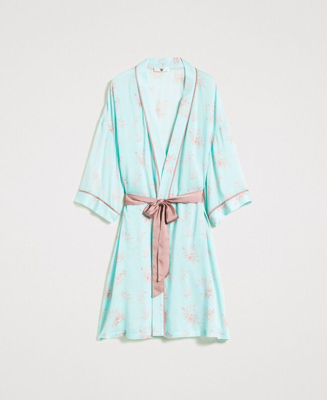 Robe de chambre en jacquard à imprimé floral Imprimé Feuilles Bleu Mousse Femme 191LL2FDD-01