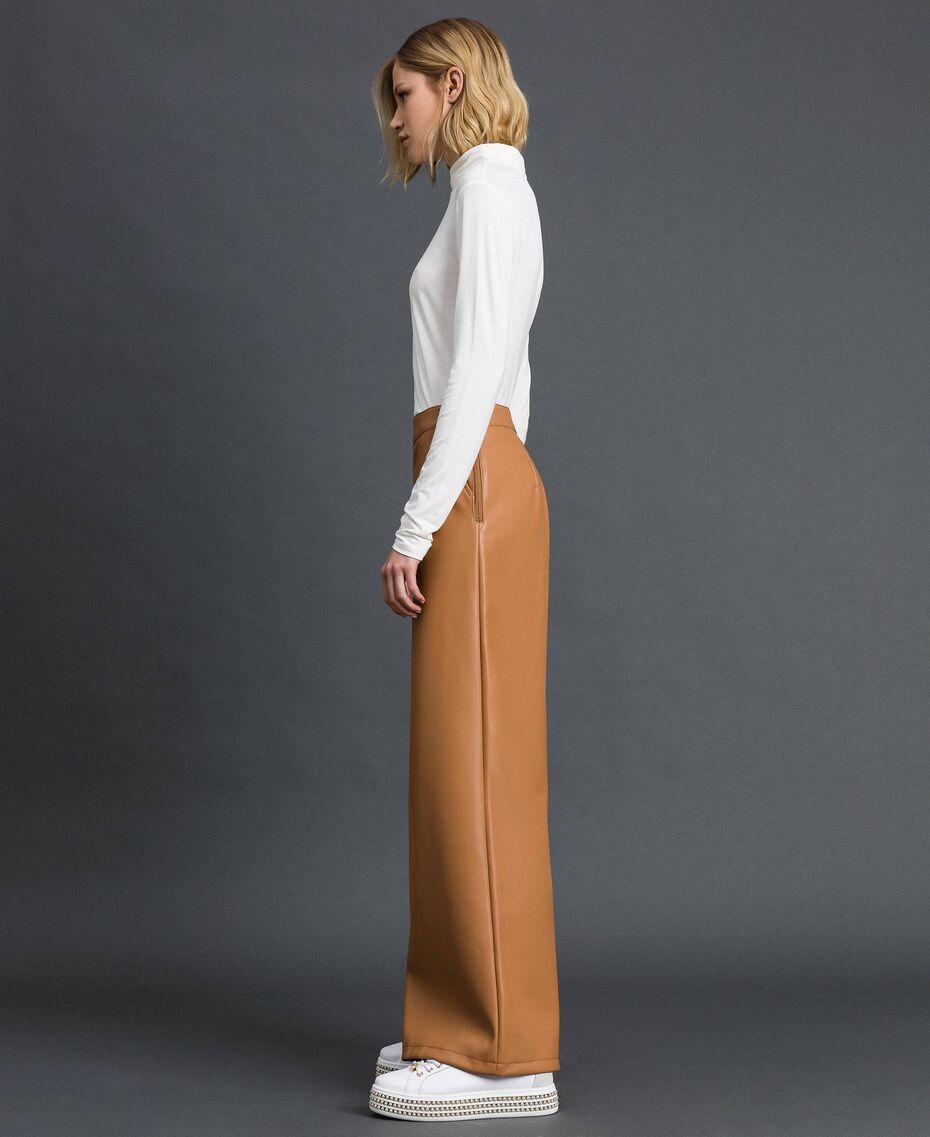 "Faux leather palazzo trousers ""Camel Skin"" Beige Woman 192LI2ECC-02"
