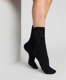 Socks with stones and beads Black Woman 192TO5414-0S