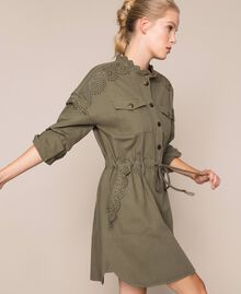 "Canvas dress with broderie anglaise ""Dune"" Beige Woman 201TP2014-02"